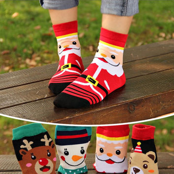 1PC Women Soft Winter Socks Christmas Warm Soft Cotton Sock Cute Santa Claus Deer Snowman Shape Holiday Party Accessories