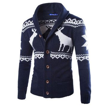 New Fashion Christmas Sweaters Men Cardigan Single Breasted Casual Slim Mens Sweaters With Deer Pattern Autumn WinterKnitwear
