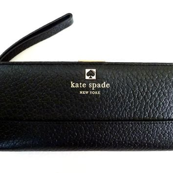 One-nice™ Kate Spade Southport Avenue Mandy Black Leather Clutch