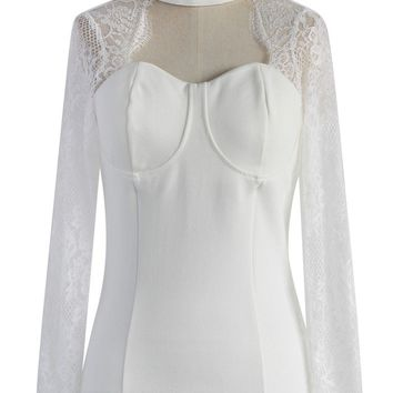 Sweetheart White Top with Lace Sleeves