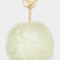 Large Rabbit Fur Pom Pom Keychain, Key Ring Bag Pendant Accessory - Cream