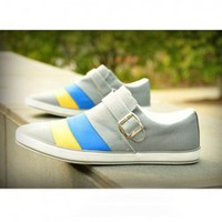 Korea Fashion Front Buckle Strap Design Color Blending Canvas Shoes For Men China Wholesale - Everbuying.com