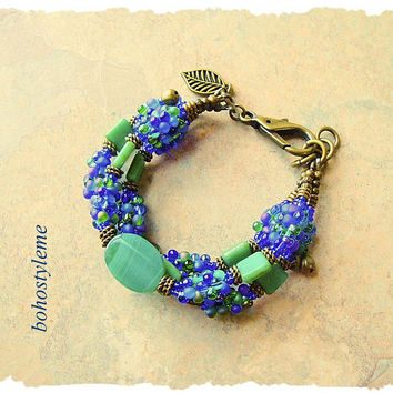 Bohemian Jewelry, Boho Beaded Bracelet, bohostyleme, Colorful Handmade Jewelry, Blue and Green, Kaye Kraus