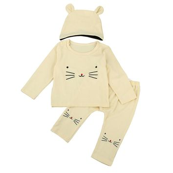 Cat Whiskers Tops+Pants+Hat Set 6-24M