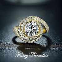 2 Carat Swirl Halo Engagement Ring, Lab Made Diamond Promise Rings, Pave Band, 3 color options (FairyParadise)