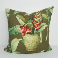 Tropical Decorative Pillow Cover, Brown Cushion Cover, 20 x 20