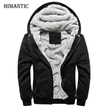 Winter Warm Hoodies Men Sweatshirts Uniform Sportswear Jacket Fleece Hoodie Coat
