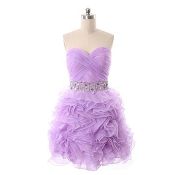 Tulle Beading Sleeveless Sweetheart Backless Tiered Short Ball Gown Cocktail Dresses Mini Party Dress