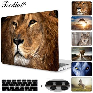 Redlai Laptop Case For Macbook 12 inch Air 11 13 Shell Animals Print Hard Case For New Pro 13 15 Touch bar with Keyboard Cover