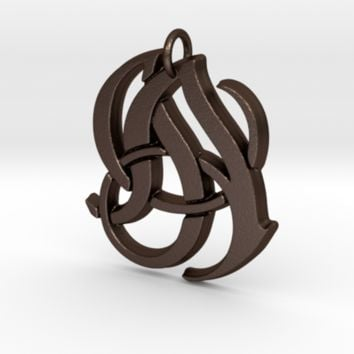 Monogram Initials JA Pendant by CalicoFlair on Shapeways