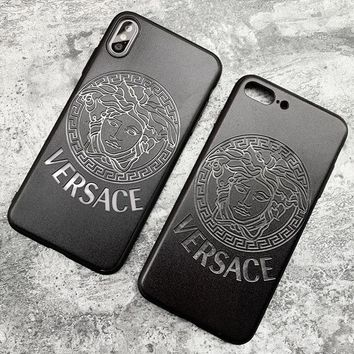 Versace New fashion letter human head mobile phone case cover Black