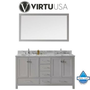 "Caroline Avenue 60"" Double Bathroom Vanity in Cashmere Grey with Marble Top and Square Sink with Mirror"