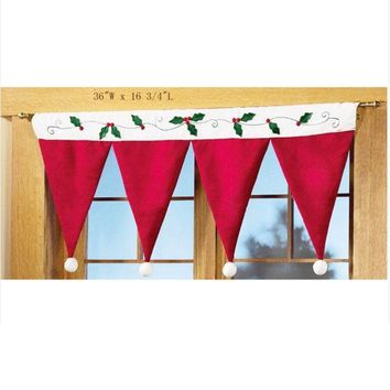 PEAPUG3 Christmas hats Christmas Decorations Windows Hanging decoration Chirstmas Curtain = 1946103108