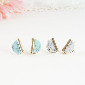 Marble Studs, Half Moon White Marble Stud Earrings, White or Mint Green Marble Studs, Geo Stud Earrings