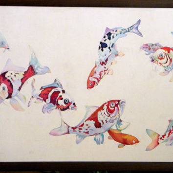 Summer sale! Japan Koi painting Batik wall hanging Original watercolor painting Painting on silk Home gallery Modern fish art wall art fo...
