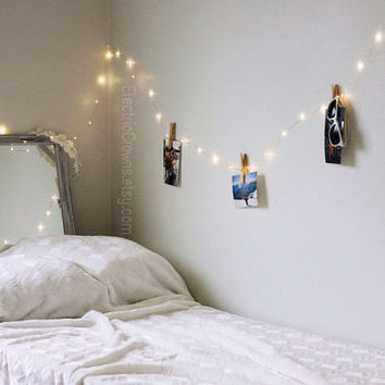 Bedroom fairy lights! Pretty bedroom decor led hanging string lights, firefly lights. 6 meters / 20 feet. Battery operated.