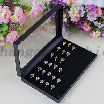New Fashion Hot Sale Sale 36 Slots Jewelries Rings Show Showcase Display Case Box Storage Holder Organiser