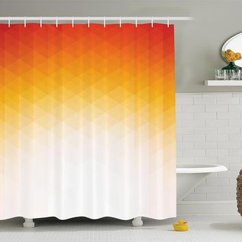 Geometric Sunset Orange Ombre Fabric Shower Curtain