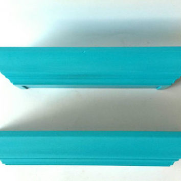 Floating Shelves Shelf Pair Set of 2 Painted Furniture Turquoise Teal Hidden Storage Compartment Hide Money Wallet Keys Display Rack Plate
