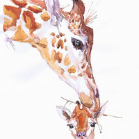 Giraffe with baby, wildlife,  watercolor,  wall decor,  animal art, art print, nursery decor, mothers day gift, children art, Illustration
