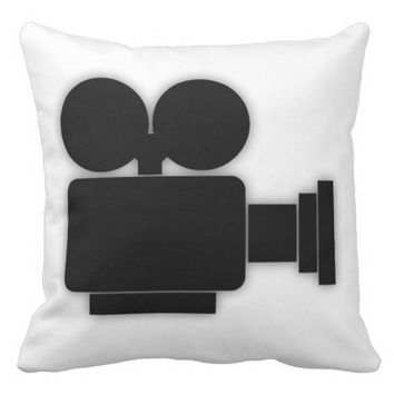 MOVIE CAMERA (BLACK AND WHITE) Throw Pillow