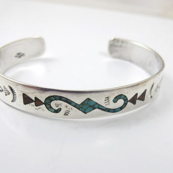 Sterling Coral Turquoise Chip Bracelet, Sterling Silver Navajo Cuff Bangle, Hallmarked Signed Native American Vintage Jewelry