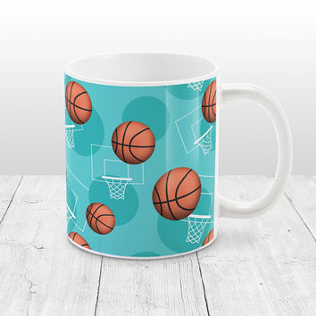 Teal Basketball Mug - Sports Themed Basketball Pattern on Teal - Basketball Coffee Mug - 11oz or 15oz - Made to Order