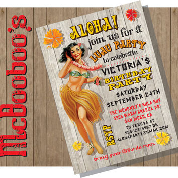Vintage Hawaiian Luau Birthday Party Invitations with a cute girl doing the hula against a weathered wood background