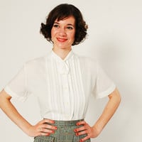 Vintage 50s Blouse - 50s White Blouse - Tiny Ascot