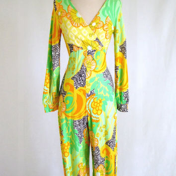 Vintage 60s LEMON LIME Jumpsuit Yellow Green by UrbanArtifactory