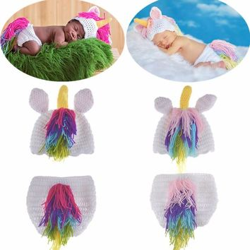 Fashion Cute Newborn Baby Hat and Pant Warm Knitted Photography Clothing Set