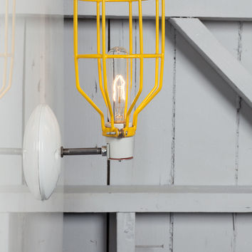 Industrial Wall Sconce - Yellow Wire Cage Wall Light