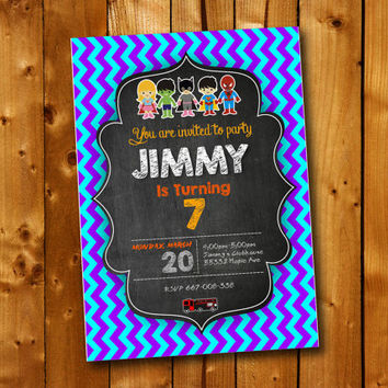 Chalkboard  Birthday Invitation Superhero, Birthday Invitation for little boy and little girl