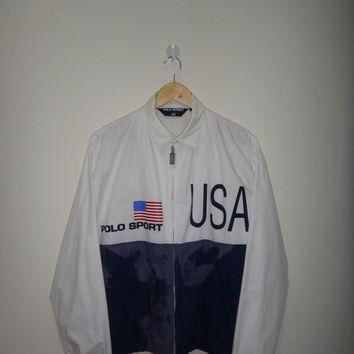 30% New Year Sale Vintage Polo Ralph Lauren USA Flag Jacket 92 93 Polo Sport Jacket He