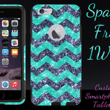 "iPhone 6 OTTERBOX Case - Otterbox Commuter Glitter Case for 4.7"" iPhone 6 - Wintermint/Smoke/Black Small Chevron Glitter Cute New iPhone 6"