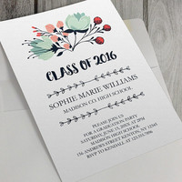 Printable Graduation Party Invitation, 5x7 inch, Class of 2016, Personalize, High School Seniors, Seniors 2016, Grad Party, Floral Invite