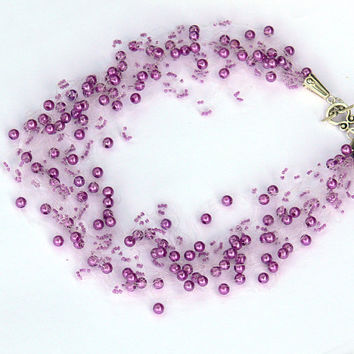 Purple Necklace. Bridesmaid Necklace. Wedding Necklace. Beadwork.  Multistrand Necklace.