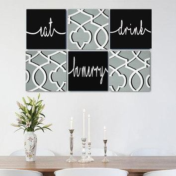 Eat Drink Be Merry Grey Black White Wall Art Pack of 6 Canvas Wall Hangings. Dining Room Decor. Kitchen Decor. Dining. Home Decor.