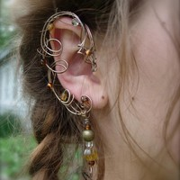 Elven Fairy Elf Ear Cuffs, Pair Of Autumn Colored Nature And Fantasy Inspired One Of Kind | Luulla