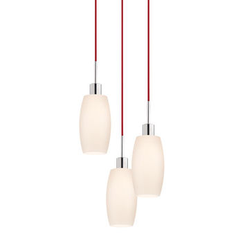 Sonneman 3561.01R-3 Three-Light Polished Chrome Drum Pendant with Red Cord and White Etched Cased Shade