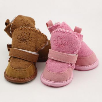 Non-slip shoes dog Teddy pet thick soft bottom snow boots Small Dogs Winter Soft cotto