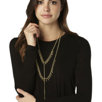 Double Fringe Y-Shaped Necklace in Gold/Brown - BCBGeneration