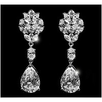 Melita Marquise Cluster Dangle Chandelier Earrings | 8ct | Cubic Zirconia | Silver