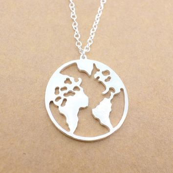 New World Map Pendant Necklaces Earth Day Wanderlust Personalized jewelry Outdoor metal fashion Necklace Gift for women man