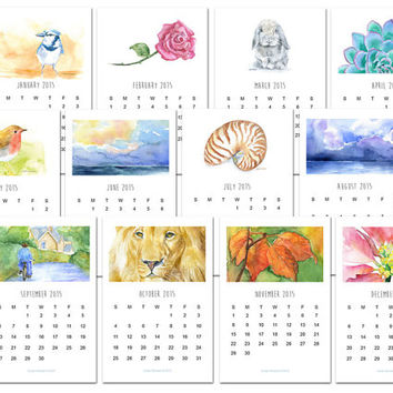 2015 Calendar - Desk Calendar - Watercolor - 12 Month 4 x 6 Watercolor Calendar - Monthly Calendar