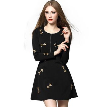 Spring New Fashion Arrow Embroidery Women Dress O-Neck Full Sleeve Empire Waist Vestidos Ball Gown Mini Dresses WQL3487