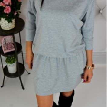 Plain Half-Sleeve Drawstring Waist Dress