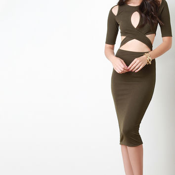 Criss Cross Cut Out Bodycon Dress