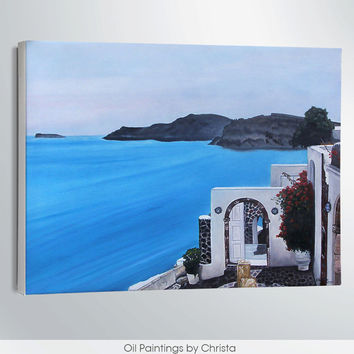 SANTORINI painting, Oil painting, Greek Island, 18x24i, blue, Sea, gift for her, Wall decor, gift for him, greece, stretched canvas, art