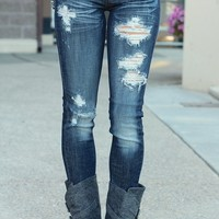 Distressed Dark Wash Skinny Jeans by Machine